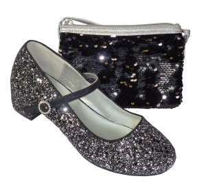 Girls black and silver glitter heeled shoes with overbody bag