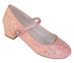 Girls peachy pink glitter low heeled princess shoes