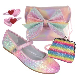 Girls pink rainbow glitter ballerina shoes, bag and accessories set