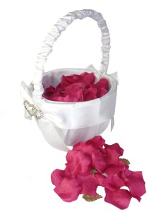 Flower girl white satin basket and rose petals