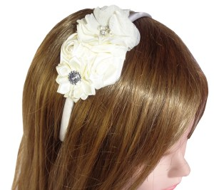 Girls ivory satin flower headband