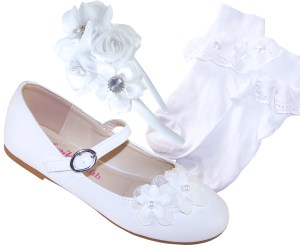 Girls white ballerina special occasion shoes socks and hairband set