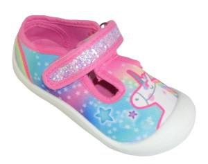 Young girls pink rainbow and Unicorn canvas shoes