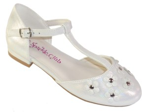 Girls ivory low heeled t-bar flower girl shoes