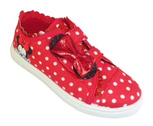 Young girls red and white Minnie Mouse canvas trainers
