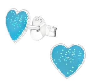 Girls blue sparkly heart 925 sterling silver earrings