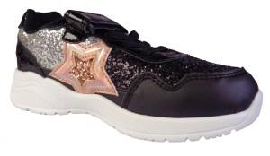 Girls sparkly glitter trainer with sparkly peach glitter star