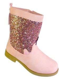 Girls pink glitter western Unicorn calf boots