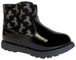 Young girls black ankle boots with unicorn pattern