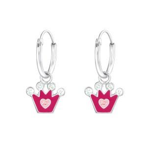 Girls Hanging Pink Crown 925 Sterling Silver Ear Hoops