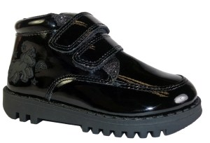 Girls PU shiny black patent ankle boot with unicorn badge