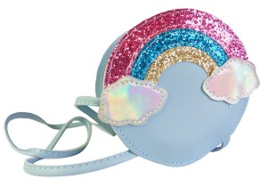 Girls Blue Glittery Rainbow Over the Shoulder Circular Bag