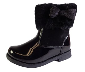 Girls black ankle boots with fur collar and glitter bow