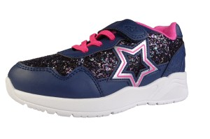Girls sparkly glitter trainer with silver and pink glitter star