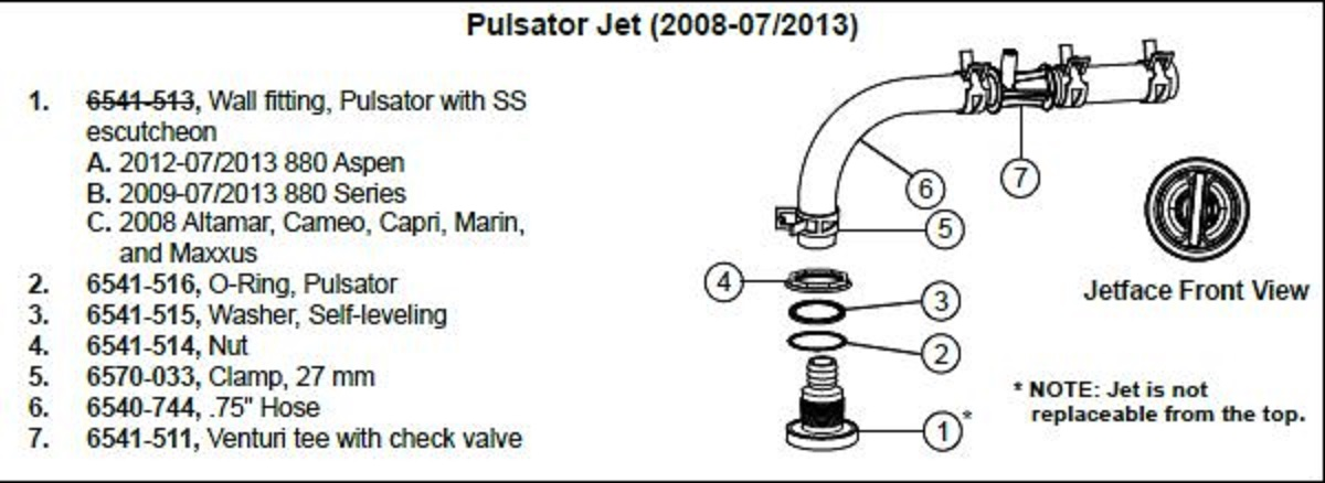 Sundance Spa Pulsator Jet Wall Fitting