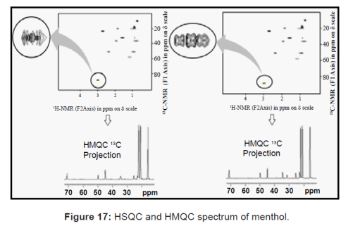 HSQC and HMQC spectrum of menthol
