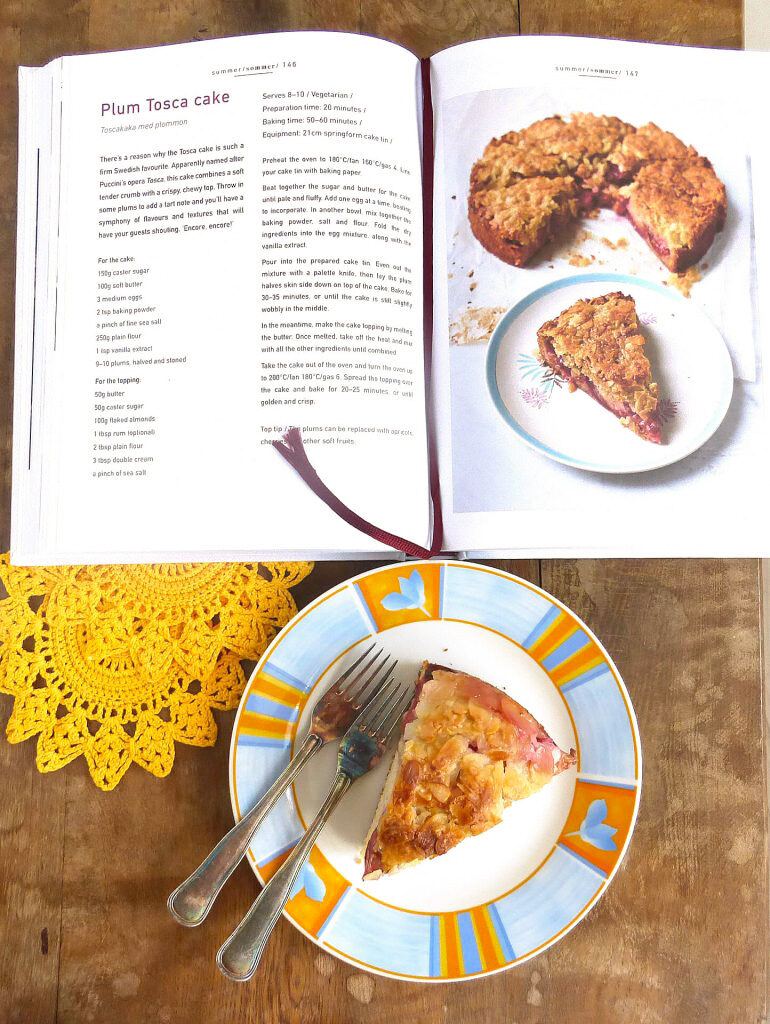 picture of a slice of cake with an open recipe book