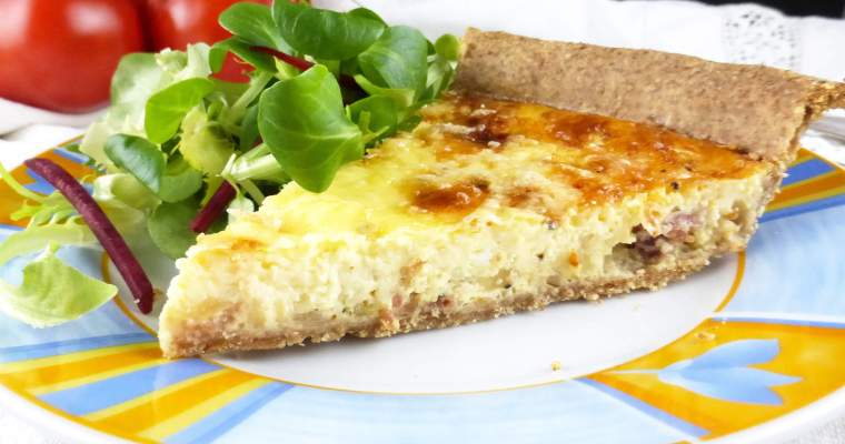 Wholemeal Spelt Quiche with Bacon and Fried Onion (from scratch)