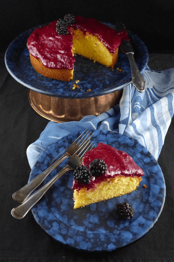 Lemon Spelt Cake with Blackberry Icing