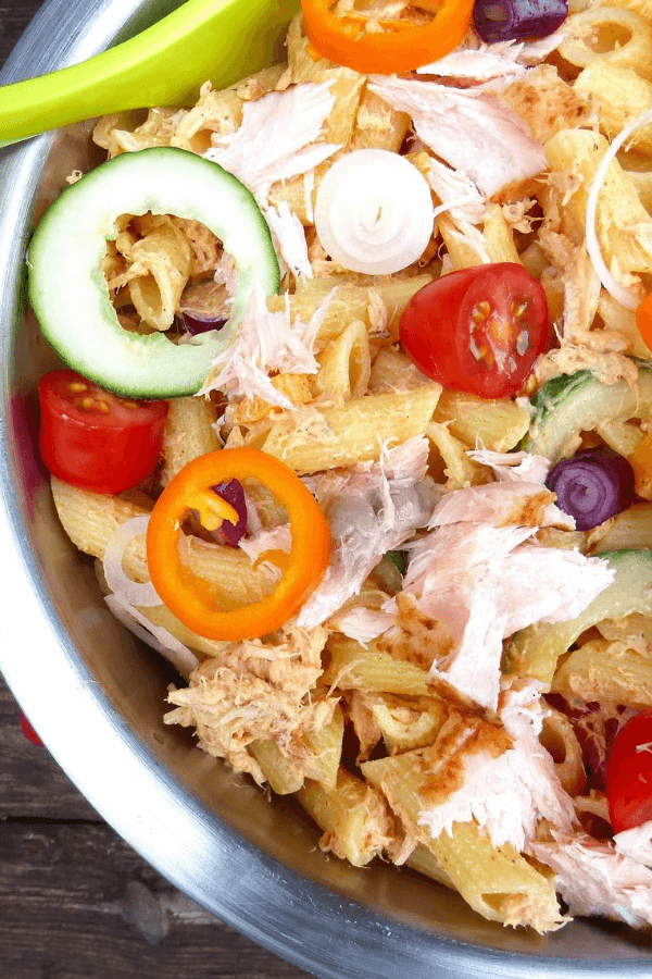 Lighter Salmon Pasta Salad with Greek Yoghurt Dressing