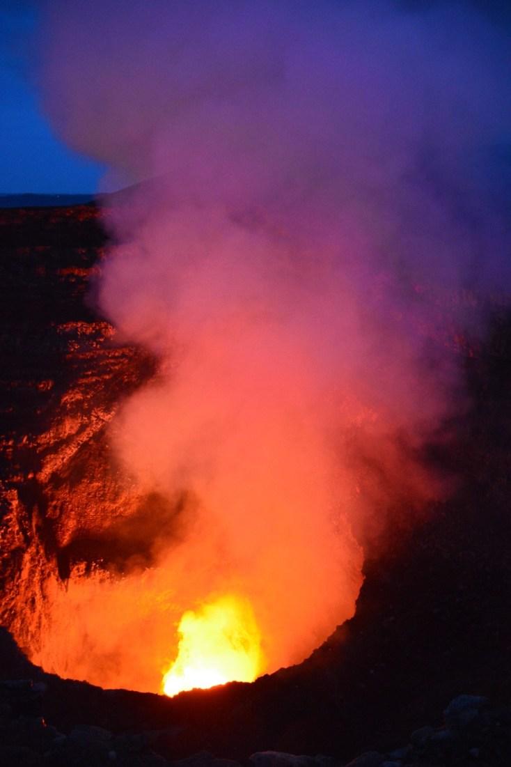 Colourful smoke plume