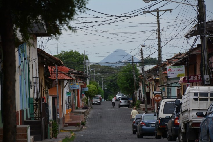 Volcano looms over the town