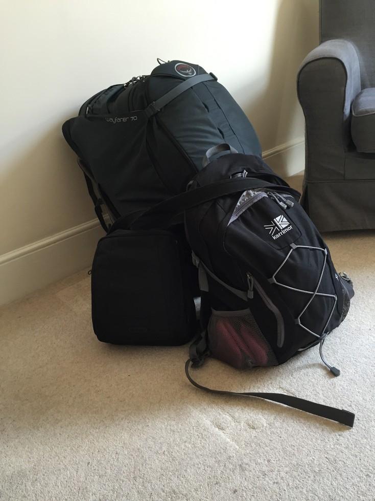 Jess' Osprey backpack and smaller rucksack