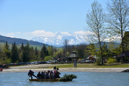 Punting on the river with the Tatras in the distance
