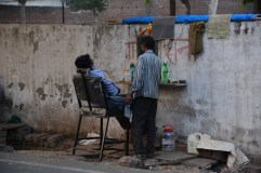 Street barber Indian style