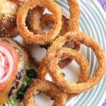 Oven-Fried Onion Rings with a Burger