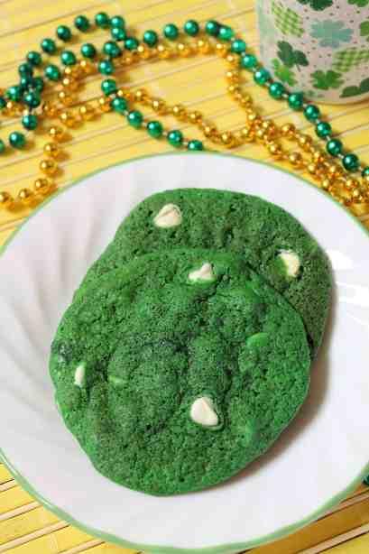 Green Velvet White Chocolate Chip Cookies