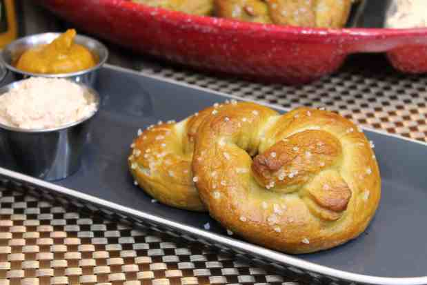Homemade Soft Pretzels with Cheddar-Cream Cheese Spread 2