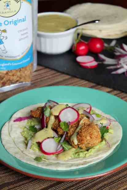 Oven-Fried Granola Chicken Tacos with Mango Crema 2
