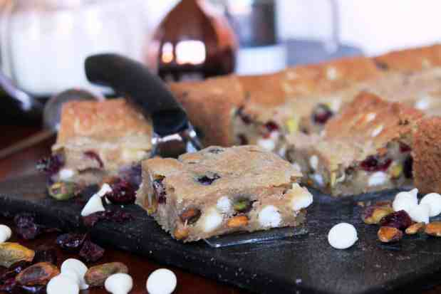 White Chocolate Cranberry Pistachio Cookie Bars The
