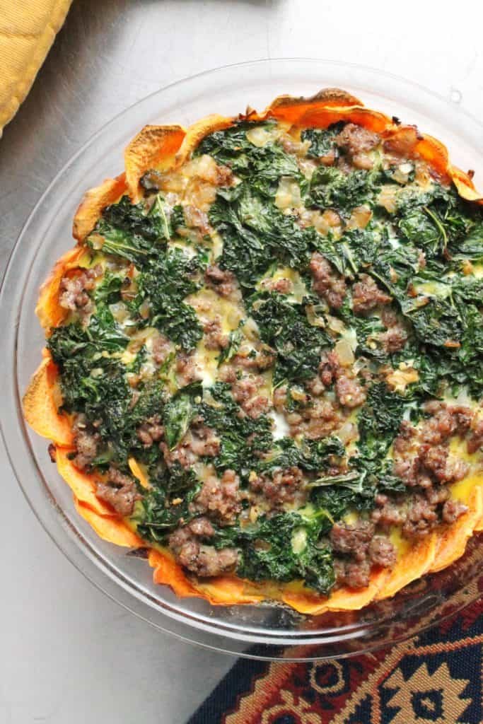 Sausage & Kale Quiche with Sweet Potato Crust