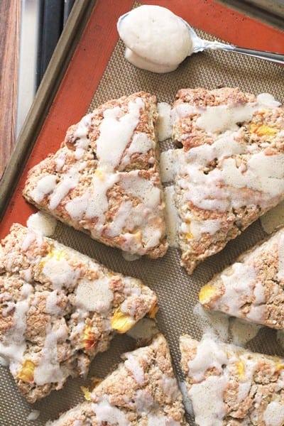Brown Butter Glazed Peach Scones