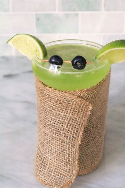 Baby Yoda Cocktail wrapped in burlap