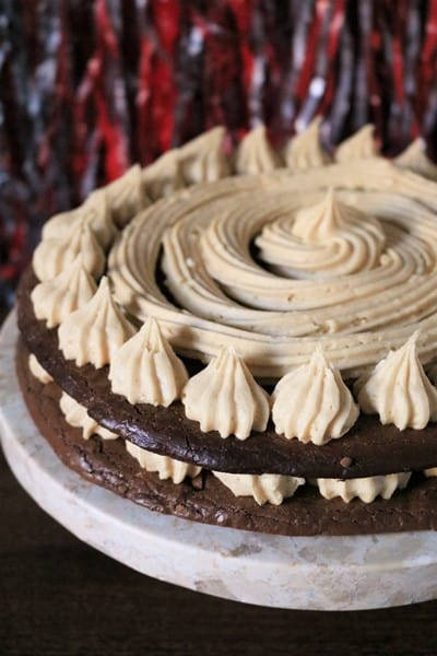 Chocolate Macaron Layer Cake with Peanut Butter Frosting