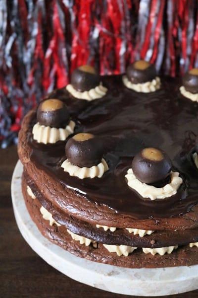 Buckeye Macaron Cake #PBchocSat #GoBucks