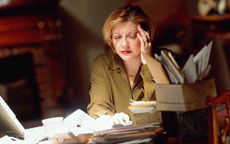 STRESSED WOMAN PAPERWORK HOME OFFICE DESK STRESS WORRIED DE-STRESS MODEL RELEASED