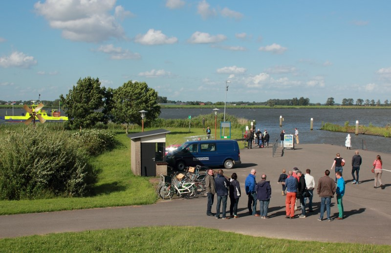 Ben, Joost, Nelly, Sander, Frank, Anton, Peter, Oscar, Stockly, Han, Paul and I. Waiting for the ferry to return to the main land from the Island of Tiengemeten.