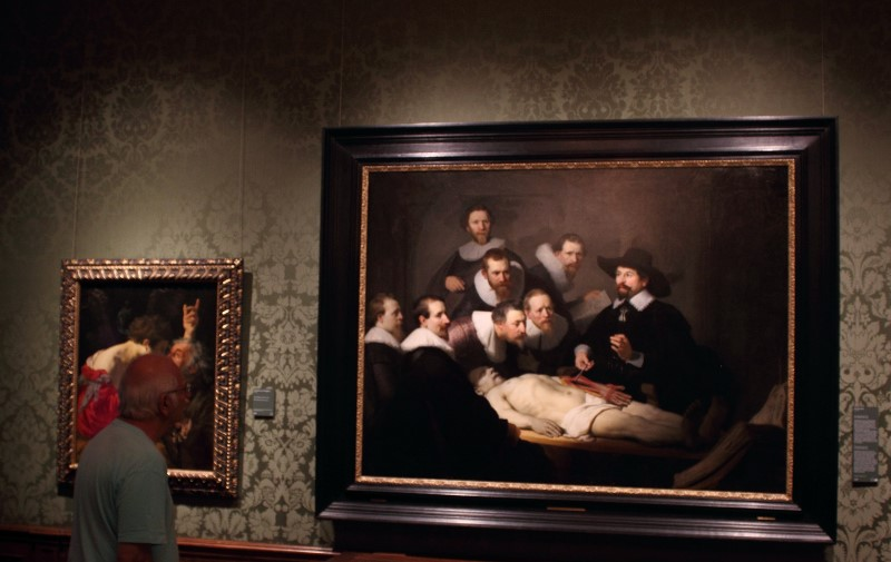 Peter studies Dr Tulp's anatomy lesson by Rembrandt