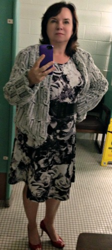Bundling up for cooler weather but the dress underneath was super comfy and practical.