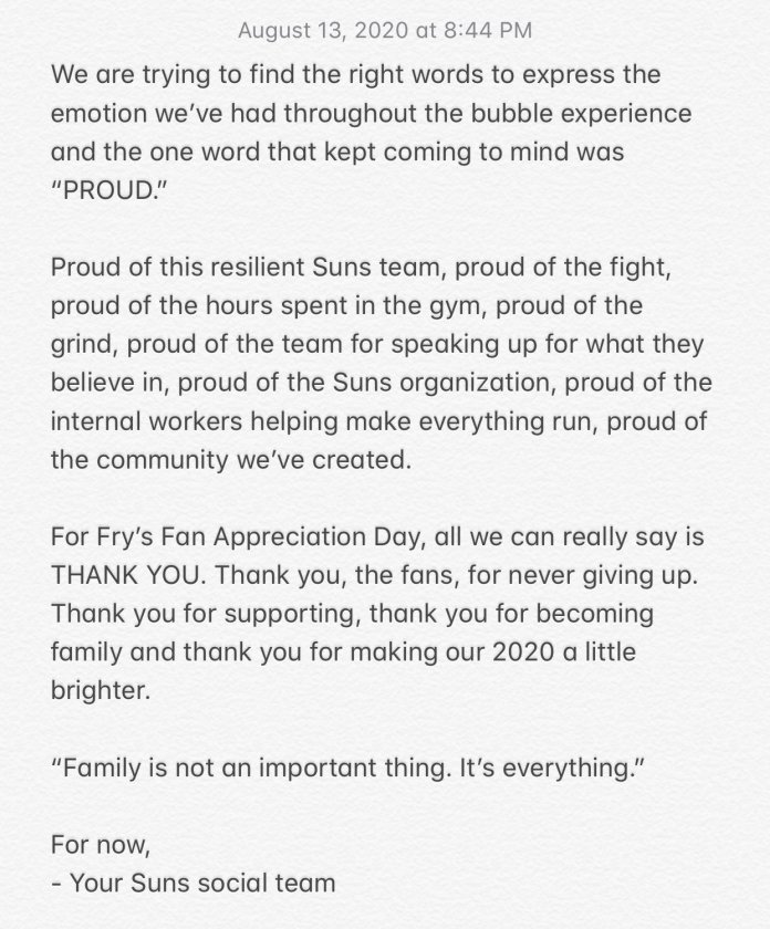The Suns tweeted this statement after the Blazers' win