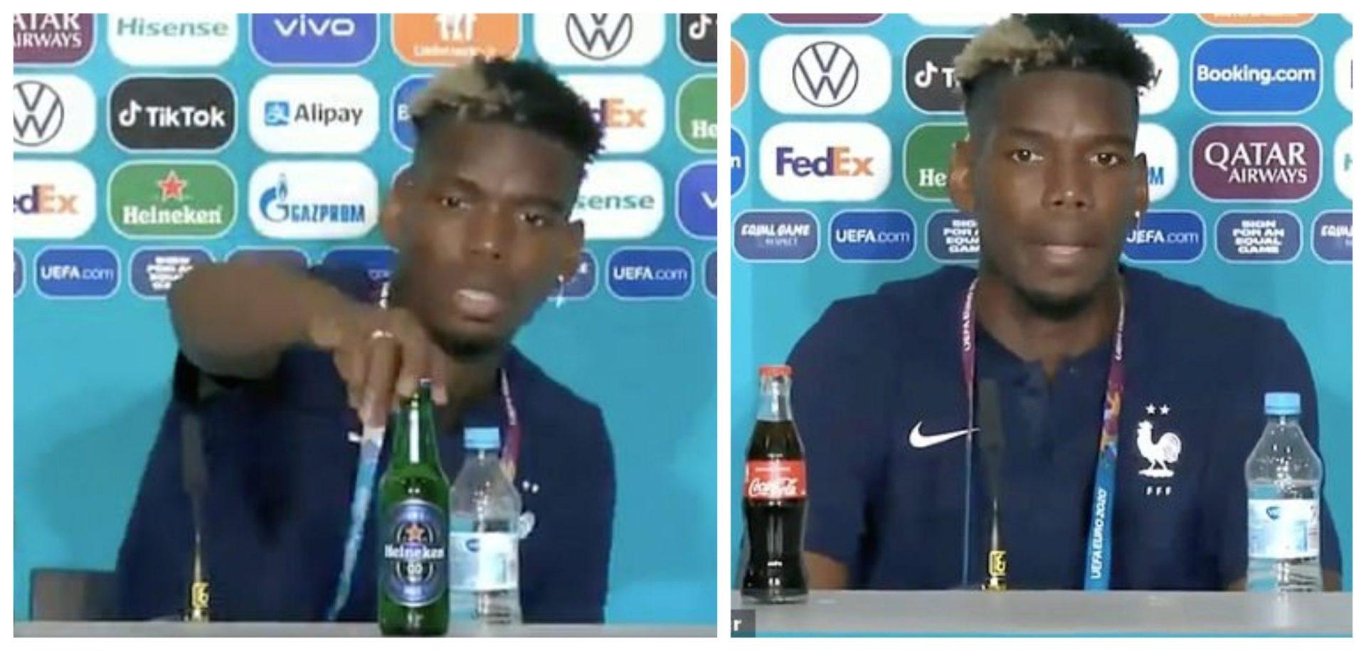 Paul Pogba mimics Ronaldo's press conference stunt; removes Heineken beer bottle away - THE SPORTS ROOM