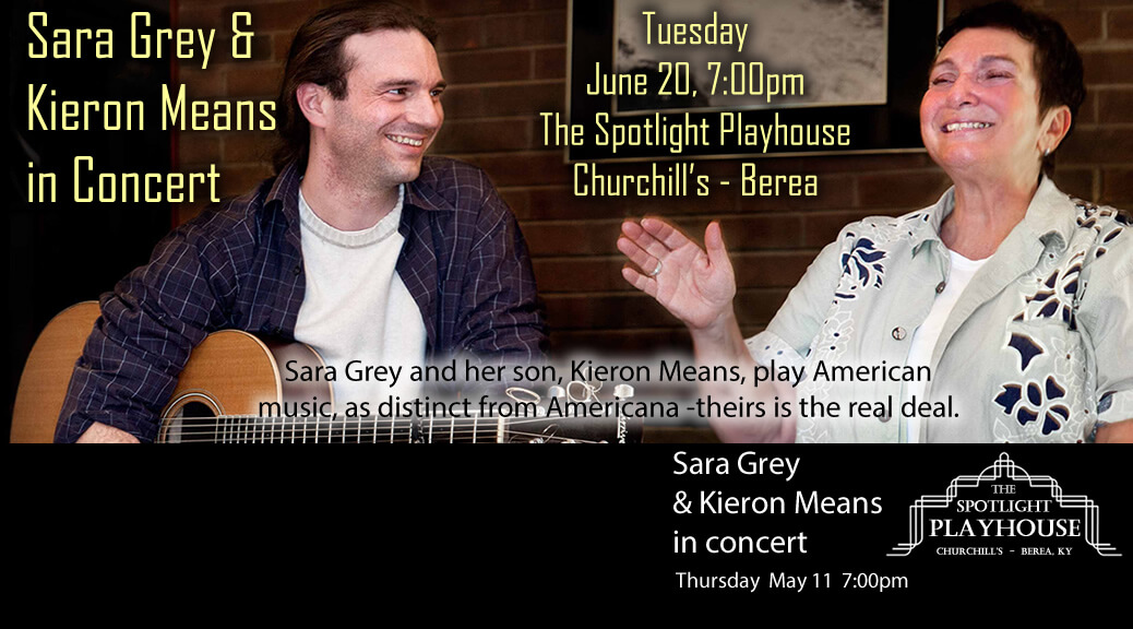 Sara Grey & Kieron Means in Concert – June 20, 7:00pm