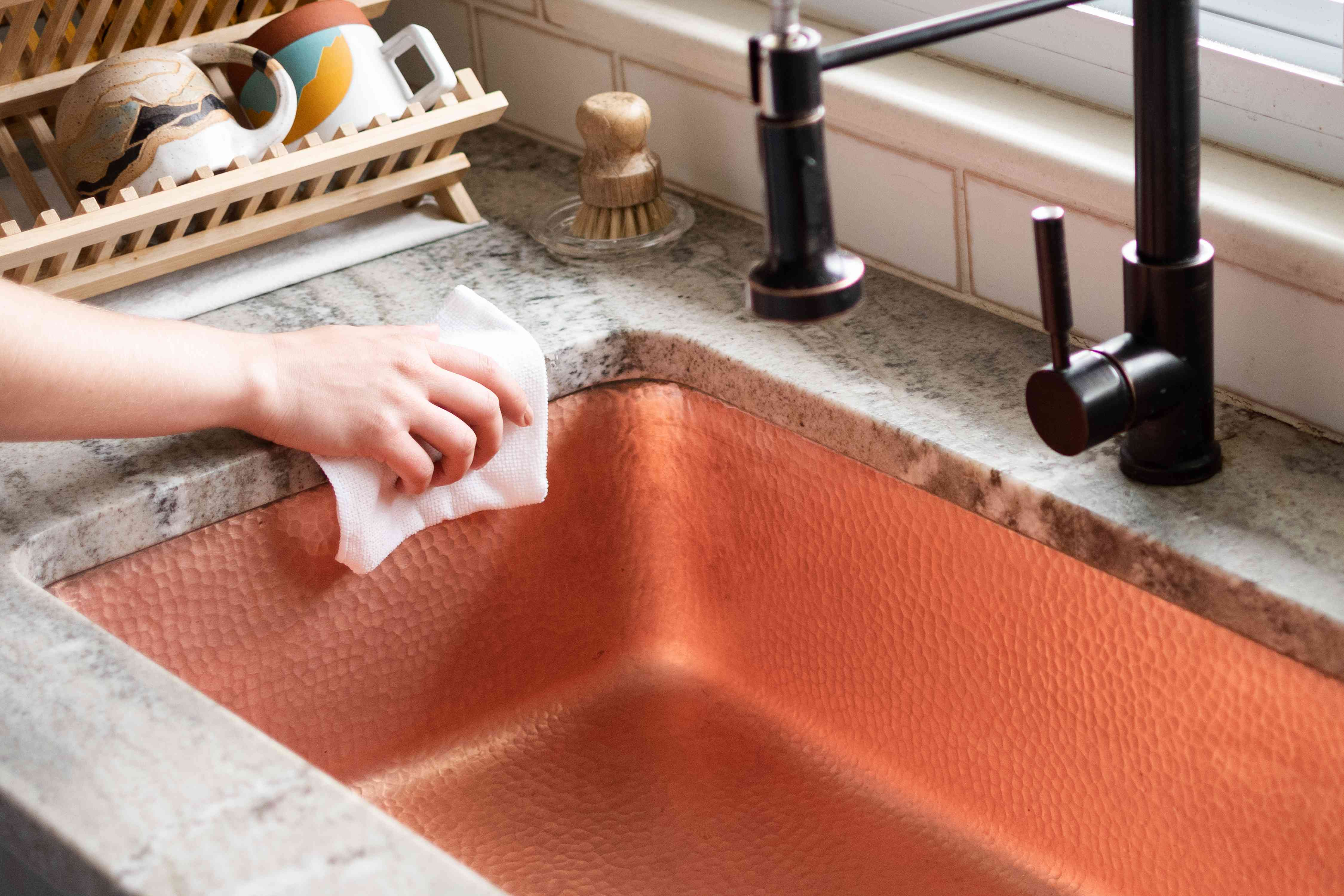 how to clean a copper sink