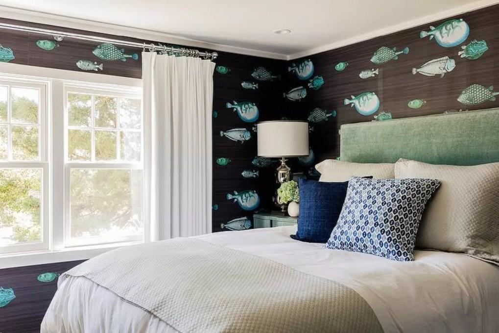 Fish wallpaper in bedroom
