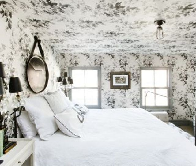 Wonderful Wallpaper Decorating Ideas For Bedrooms Black And White Wallpaper On Ceiling In Brooklyn Town House