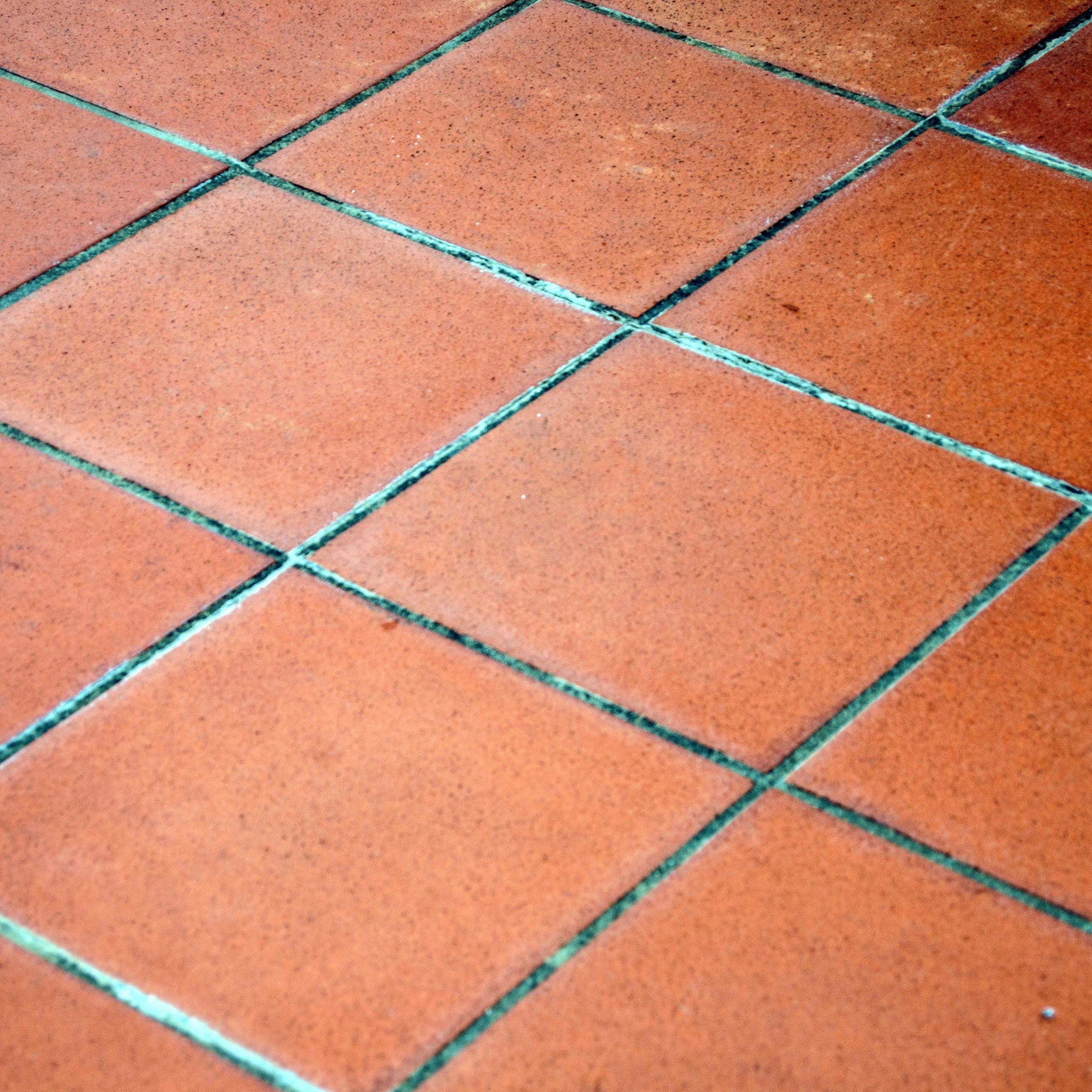overview of terracotta floor tiles